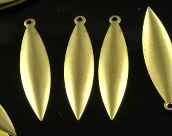 40 pcs raw brass 9x35 mm raw brass  curved marquise 1 hole raw brass Charms ,raw brass Findings 29R-30