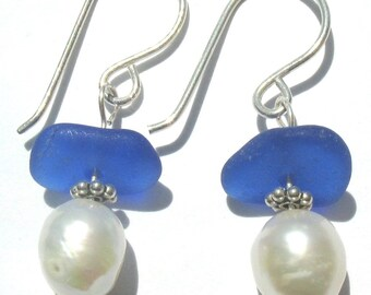 Sea Glass Jewelry, Cobalt Blue Ocean - Genuine Beach Glass Earrings - Sterling Silver and Fresh Water Pearls, Jewellery