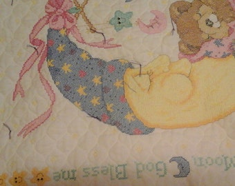 Mr Moon and Me Cross Stitch Baby Blanket