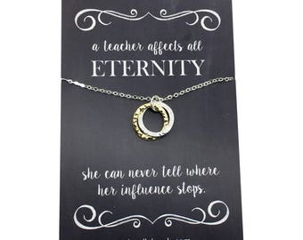 "Teacher appreciation Gift,  Two Tone infinity circles rings - carded with message  ""A teacher affects all eternity...""  teacher thank you"