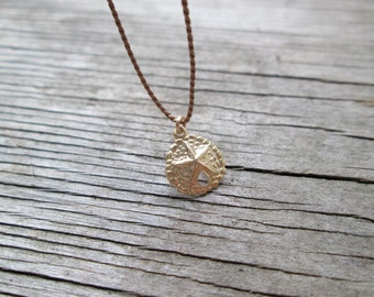 SAND DOLLAR silk necklace sterling silver or gold filled beach sea ocean summer minimalist necklace