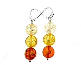 Triple Amber Earrings, Simple Amber Dangle Earrings, Silver Amber Drop Earrings, Minimalist Amber Resin Earrings - SE-P0827