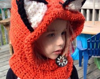 Fox Winter Fox Hat Fox Hoodie Fox Cowl Animal Hat Woodland child cowl Hooded Scarf Crochet Hoodie Chunky Crochet Hat - Animal Scarf