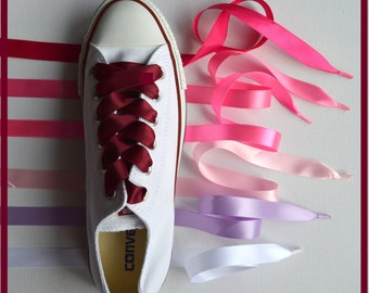 """Satin Ribbon Shoe Laces for Converse Trainers,Boots, Shoes, DM's, Kickers,Tims - Aglet Ends - 15mm width - 30""""-100'' lengths"""