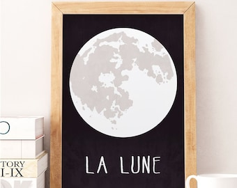 Moon art print, Wall art print, Baby boy nursery, Nursery print, Baby room decor, Nursery art print, La lune, The moon decor, Kids room art