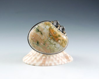 Ocean Jasper Statement Ring, Sterling Silver, 14kt Gold