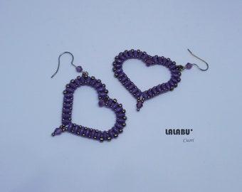 Hearts earrings, beading earrings, beading, pendant earrings, made Italy