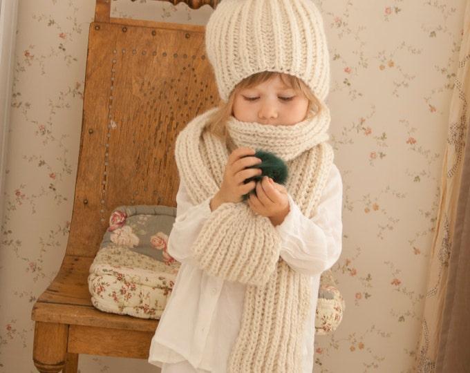 KNITTING PATTERN pom-pom hat and scarf set Hayden (toddler/child/adult sizes)