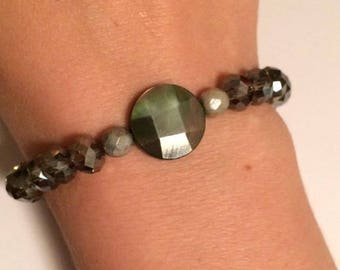 Charcoal Grey, Iridescent Pearl, and Sage Green Bracelet