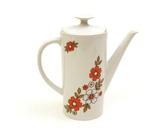 Vintage 60's Winterling röslau Bavaria Coffee Pot. white pot, Floral pattern, homeware.