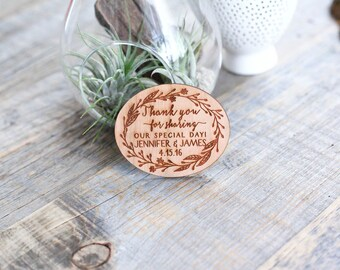 Custom Thank You Wedding Card, Wood Favor Magnet, Wedding Rehearsal Gift, Wedding Favor Magnet - As seen in Inspired Bride Mag- April 2015