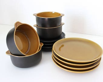 Melitta Copenhagen soup bowls with saucers, dishes for 4 persons Germany 70s