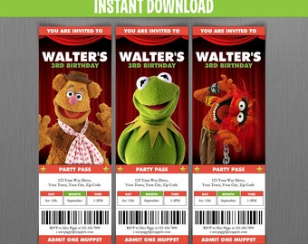 Muppets Birthday Ticket Invitations - Instant Download and Edit with Adobe Reader