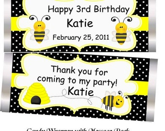 Bee - Personalized Candy Bar Wrapper, Birthday, Baby Shower