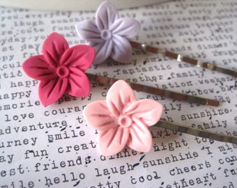 Flower Bobby Pins, 3 Pastel Hairpins, Pink and Lavender, Flower Girl Hair Accessory, Hair Clip, Hair Slide, Stocking Stuffer, Small Gift