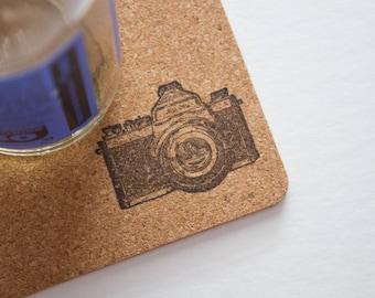 camera, camera coasters, cork, cork coasters, photography coasters, cute coasters, art coasters, cork coaster, camera cork coasters