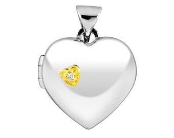Gold Plated sterling silver Diamond Set Heart Locket with chain