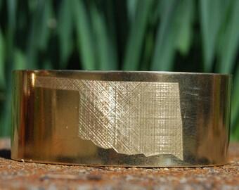 Brass Oklahoma Cuff, Oklahoma Bracelet, Oklahoma Jewelry, Gold Bracelet, Gold Cuff, Cherokee Bracelet, State Jewelry