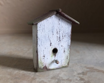 Dollhouse Miniature Birdhouse in White