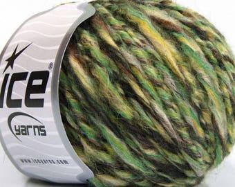 Peru Alpaca Bulky Yarn Green Brown Yellow Cream Twist -  #53354 Ice Merino Wool Alpaca Acrylic 50g 65y