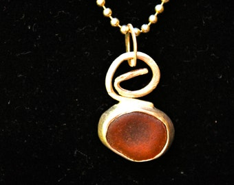 Sterling and brown sea glass pendant and ball chain