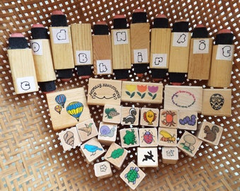 Small rubber stamps.Rubber stamps,ink stamp assortment