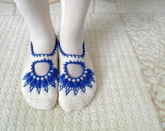 SALE Women socks, Handmade Slippers, Turkish Knitted Slippers, Authentic footwear, Stylish foot wear, White Marine BlueSlippers