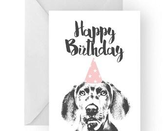 Weimaraner blank birthday card- weimaraner greeting card, dog card, puppy birthday card, cute dog birthday card, Birthday card