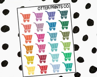 Grocery Cart (24 Planner Stickers)