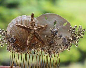 Gold Starfish Bridal Comb/ Hair Comb/ Beach Themed Wedding/ Destination Wedding/