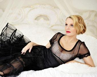 Crinoline petticoat Tea Length Retro Black 1950s Slip Under Swing Dress or Retro Skirt Fullness Oomph