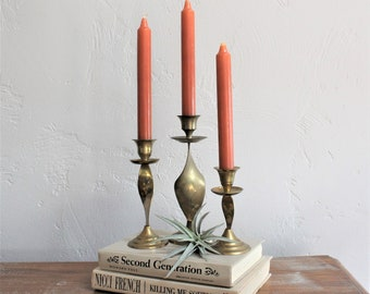 Set of 3 Brass Candlesticks, Brass Candle Holder, Brass Candle Sticks, Regency Decor, Mantel Decor Graduated Candlesticks Coffee Table Decor