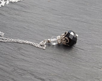 Black necklace Black Pendant Necklace Black Cristal Necklace Wedding Jewelry Black Bridesmaid Gift  Wedding Small Necklace Black Jewelry
