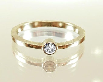 Engagement ring - gold ring 14 Kt Moissanit very good, stacking ring, stackable ring, light and elegant - handmade by SILVERLOUNGE