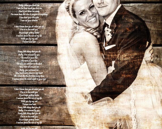 5th Anniversary Gift First Dance Lyrics 5 Year Anniversary First Dance Song Wood Print Photo on Wood Print on Wood Parents Anniversary 16x20