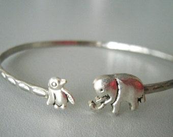 Elephant cuff bracelet with a penguin wrap style, animal bracelet, charm bracelet, bangle