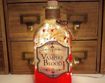 The Originals / Vampire Diaries Inspired Vampire Blood 500ml LED Bottle Lamp Light by JayEngrave