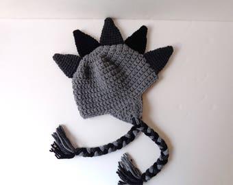 Newborn Crochet Dinosaur Ear-flap Hat Gray Dark gray and Black Knit Hat Animal Hat Dino Hat Baby Boy Baby Girl Photo Prop