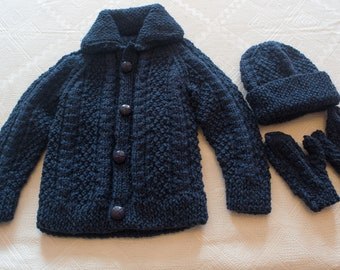 Hand knit navy Aran cardigan hat and mittens