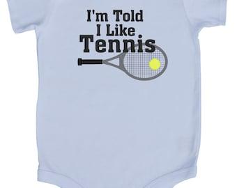 I'm Told I Like Tennis Graphic Baby Bodysuit