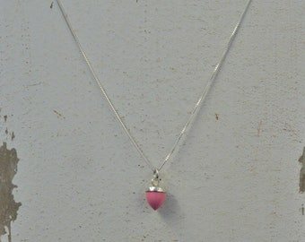 Delicate 6mm Pink Opal and Silver Pendant - With or Without Chain