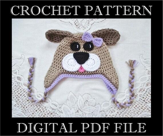 Pdf Pattern Full Face Puppy Dog Crochet Hat Pattern