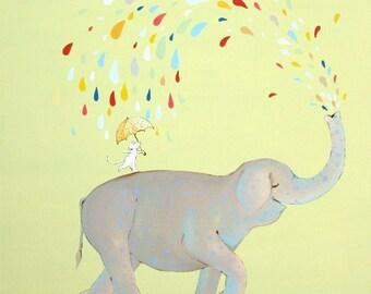 "The Raining Mister Elephant -PRINT 8x8"""