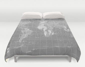 gray world map duvet cover comforter bed bedroom travel decor cozy soft gray pure grey winter warm wanderlust