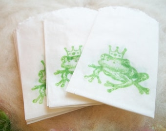Tiny Glassine Bag, 10 Hand Stamped Green Frog Prince Bags Small Gift Wedding Baby Shower Party Favor Small Prize Pixie Fairy Party Bag