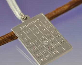 Diamond Birthday Calendar Pendant. Sterling Silver