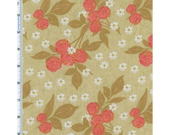 Beige Nel Whatmore Eden Cherry Print Cotton, Fabric By The Yard