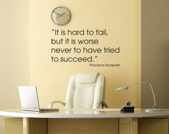 Theodore Roosevelt Quote Wall Decal - Office Decals - Vinyl Wall Lettering Quote - Inspirational Quotes Decals - Vinyl Words Wall Lettering