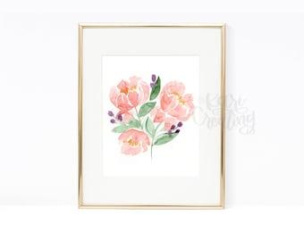 Pink Poenies Watercolor Floral Print