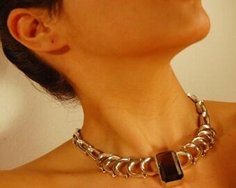 Vintage Silver Chain Smoky Quartz Crystal Necklace Collier